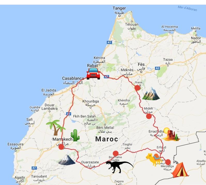 map road trip maroc