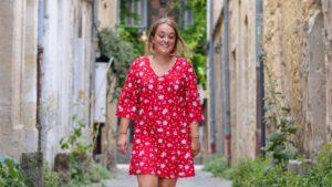 robe rouge fleurs volants