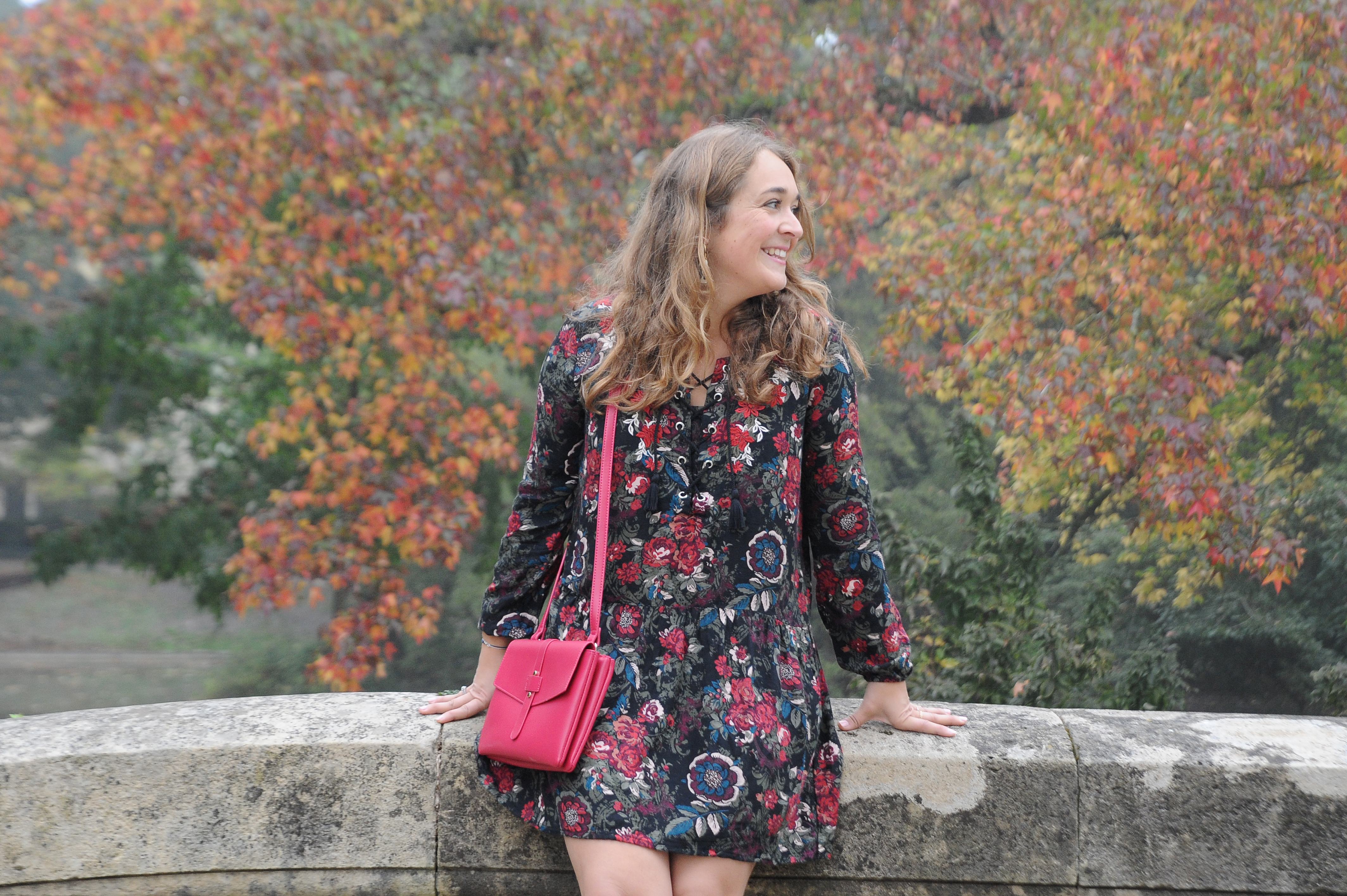 robe à fleurs sac framboise - blog mode Bordeaux