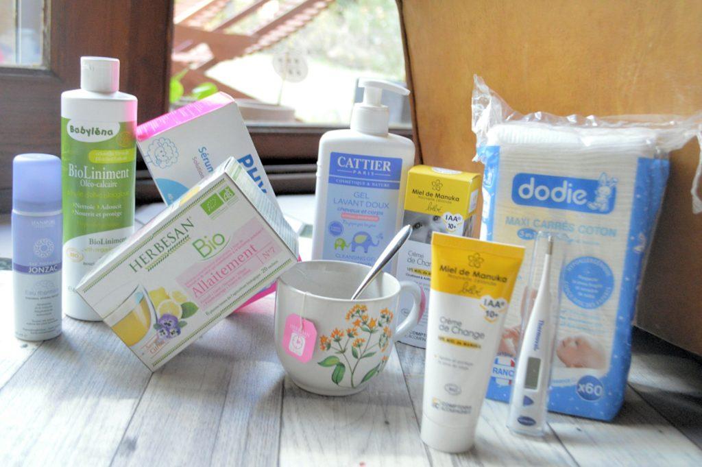 sélection produits maternité shop pharmacie gel lavant Cattier tisane bio Herbesan Carrés de cotons Dodie