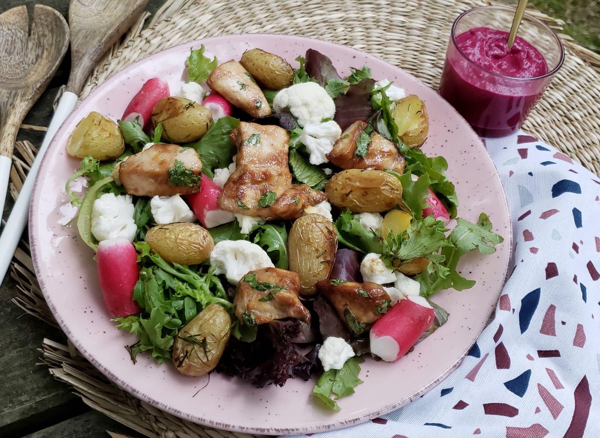 recette salade de poulet mariné crème de betterave