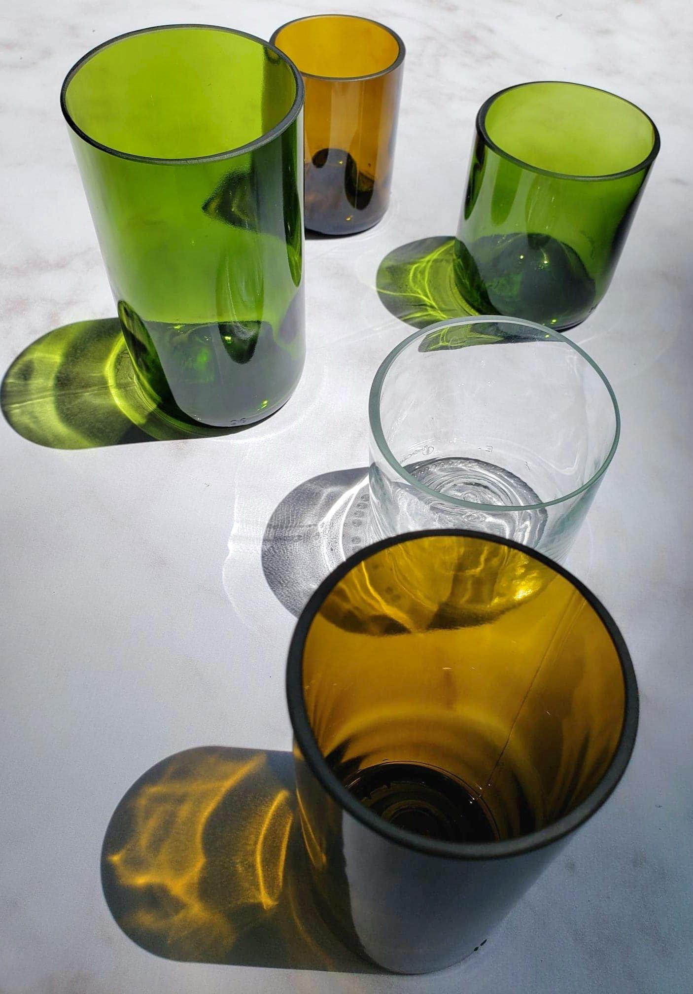 bouteilles de vins recyclées plates et culotées