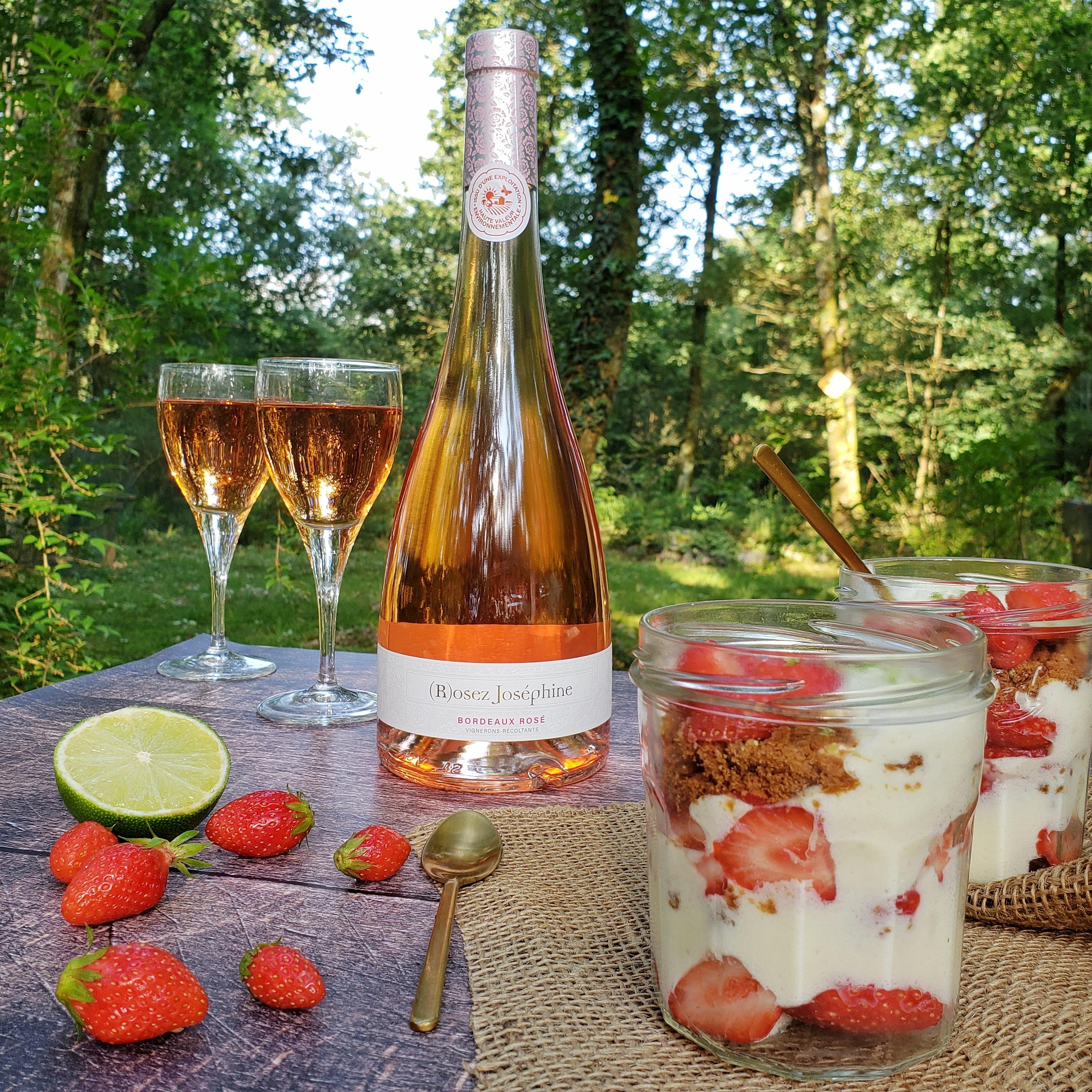 recette verrine fraise mascarpone rosé
