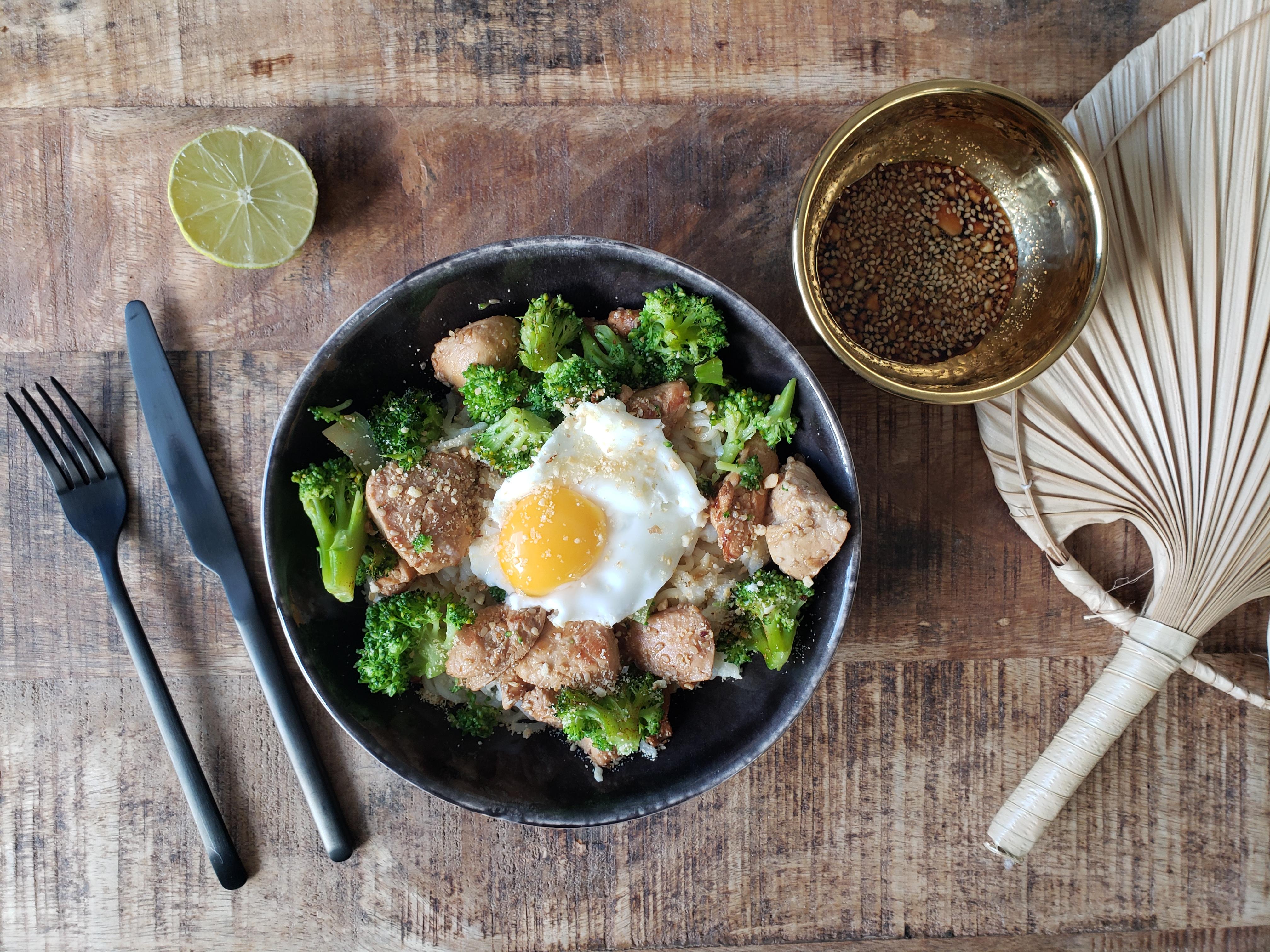 recette bowl vermicelles poulet mariné soja