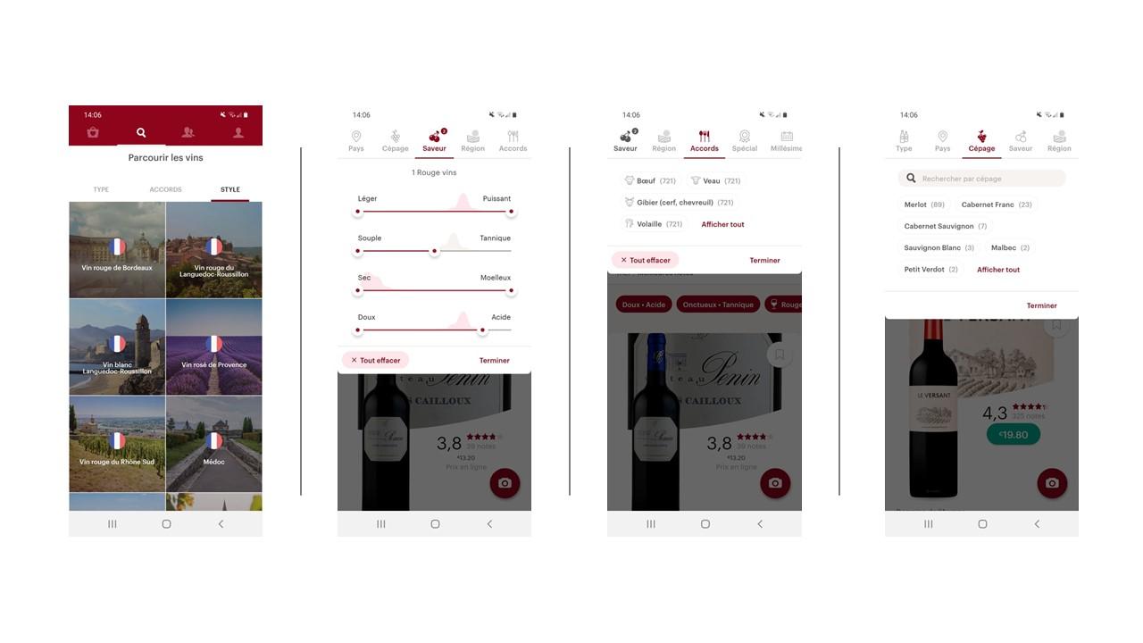 application Vivino parcourir les vins